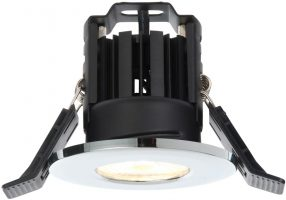 Shield IP65 Polished Chrome Fire Rated 8w Cool White LED Downlight