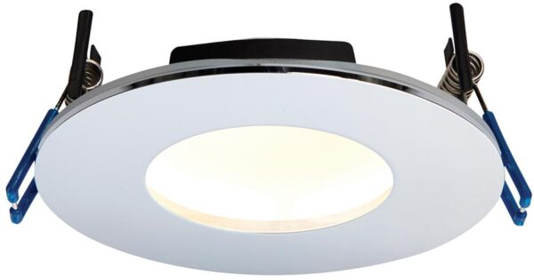 OrbitalPlus Chrome Dimmable 9w LED Fire Rated IP65 Downlight Warm White