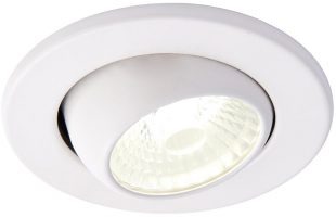 Shield Matt White 10w Cool White Fire Rated LED Tilt Downlight