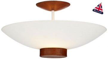David Hunt Saddler Art Deco Tan Leather 2 Light Semi Flush