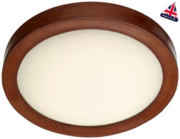 David Hunt Saddler Brown Leather Flush LED Ceiling Light