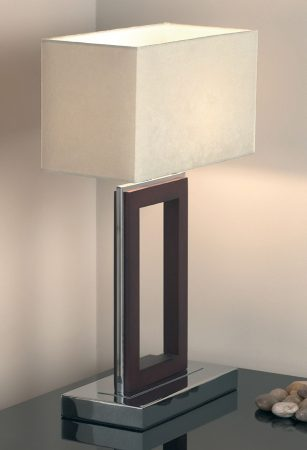Chrome Dark Wood Table Lamp With White Shade