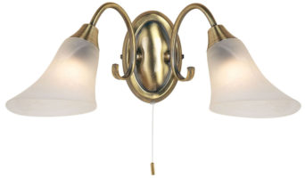 Traditional Antique Brass Switched Double Wall Light
