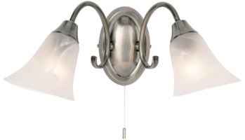 Traditional Antique Silver Switched Double Wall Light