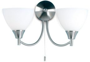 Traditional Satin Chrome 2 Lamp Switched Wall Light