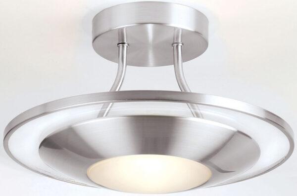Modern Satin Chrome Flush Fitting Disc Light