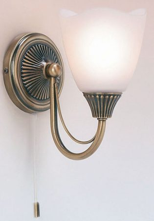 Traditional Switched Antique Brass Single Wall Light