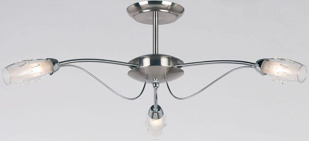 7eed85e1d75b Modern Satin Chrome 3 Lamp Semi Flush Fitting 9009-3SC