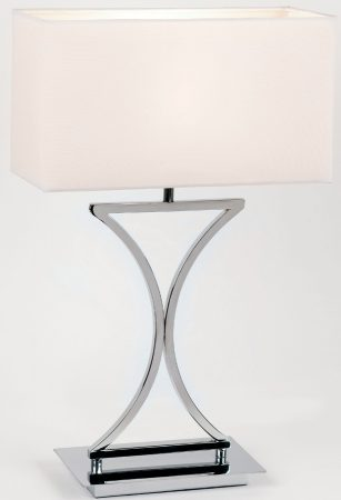 Sculptured Modern Chrome Table Lamp With White Shade