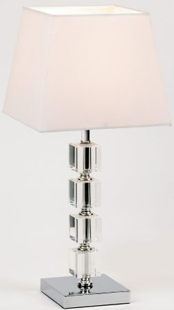 Murford Chrome And Acrylic Cubes Table Lamp White Shade