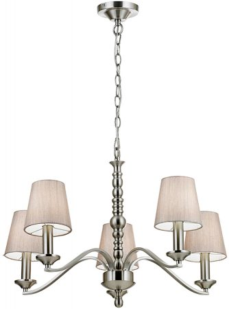 Astaire Traditional 5 Light Satin Nickel Chandelier