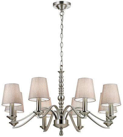 Astaire Traditional 8 Light Satin Nickel Chandelier