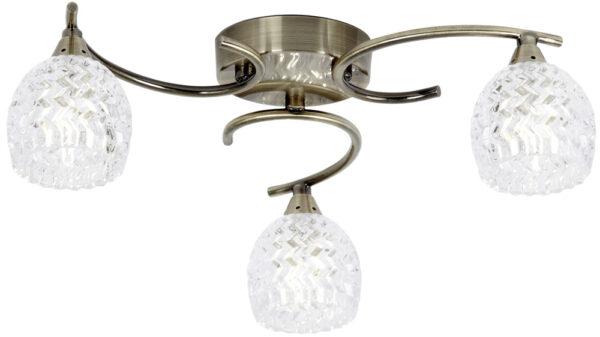 Boyer Antique Brass 3 Light Semi Flush Glass Shades