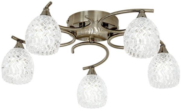 Boyer Antique Brass 5 Lamp Semi Flush Light