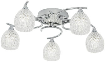 Boyer Polished Chrome 5 Lamp Semi Flush Light