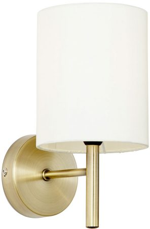Brio Antique Brass Single Wall Light Ivory Shade