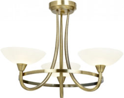 Cagney Antique Brass Semi Flush 3 Light Fitting