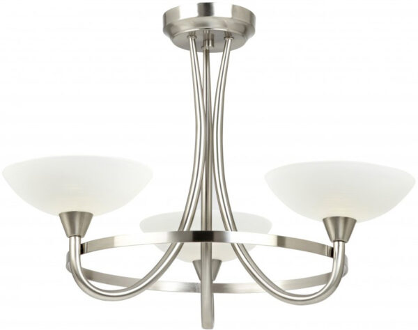 Cagney Satin Chrome Semi Flush 3 Light Fitting