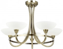 Cagney Antique Brass Semi Flush 5 Light Fitting