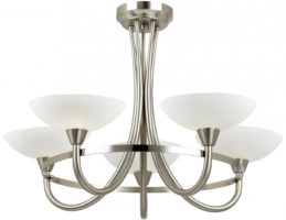 Cagney Satin Chrome Semi Flush 5 Light Fitting