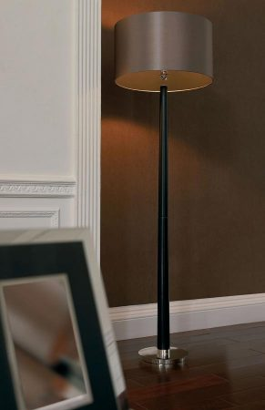 Chasselas Walnut Wood Floor Lamp And Mink Shade