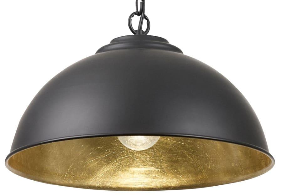 Colman Matt Black 1 Light Pendant Ceiling Light Gold Inner ...