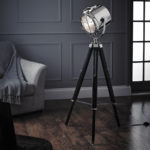 Endon Nautical Cinematic Tripod Floor Lamp Polished Nickel Matt Black