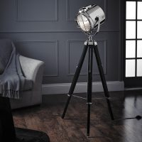 Cinematic Style Chrome Tripod Spot Light Floor Lamp