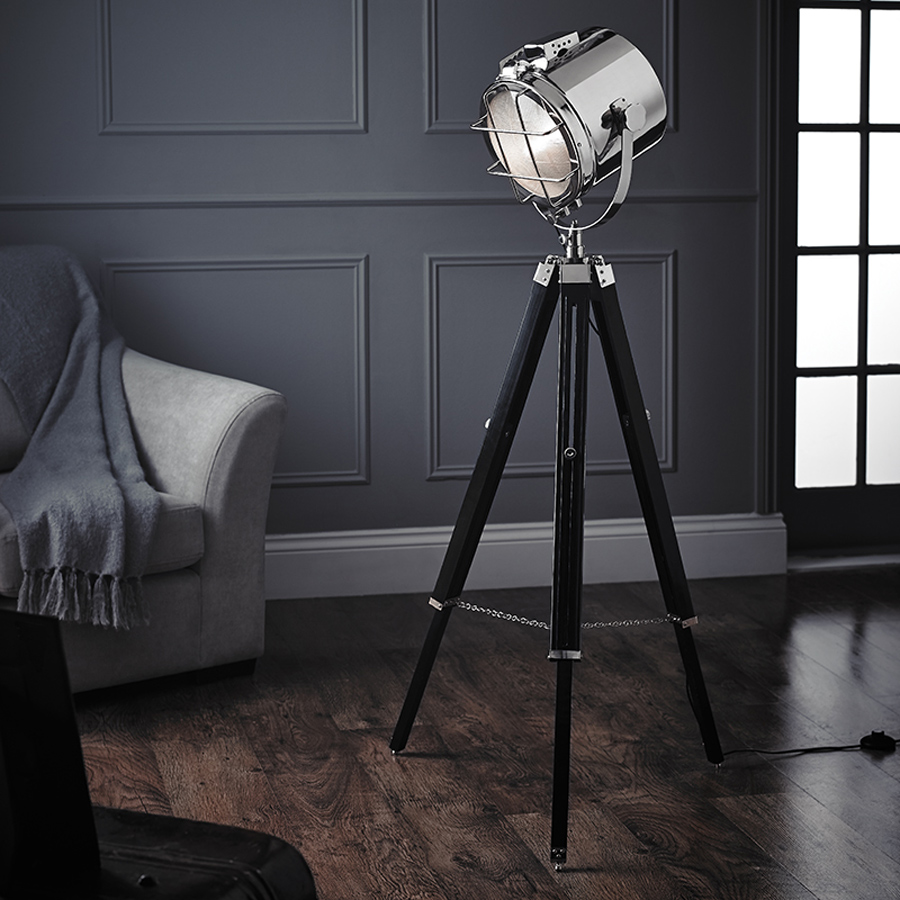 cinematic style chrome tripod spot light floor lamp eh nautical fl. Black Bedroom Furniture Sets. Home Design Ideas