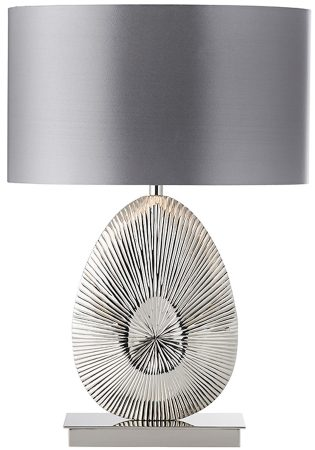 Simeto Modern Nickel Table Lamp With Grey Satin Shade