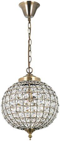 Tanaro Antique Brass Glass Bead Globe Pendant Light