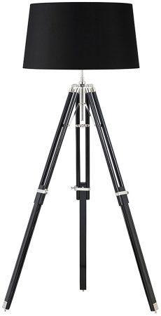 Large Black Wood Tripod Floor Lamp Base