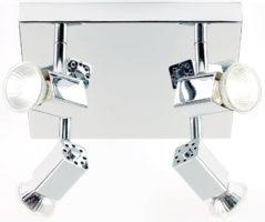 Grove Square Chrome 4 Lamp Ceiling Spot Light Plate