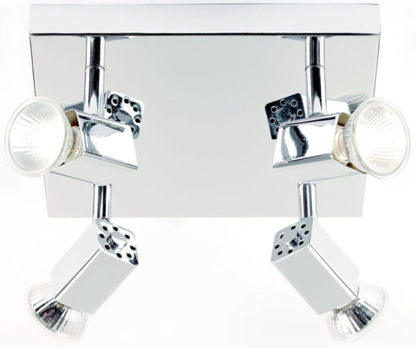 Grove Square Chrome 4 Lamp Ceiling Spot Light Plate