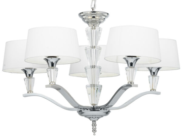 Fiennes Contemporary 5 Light Chandelier Polished Nickel