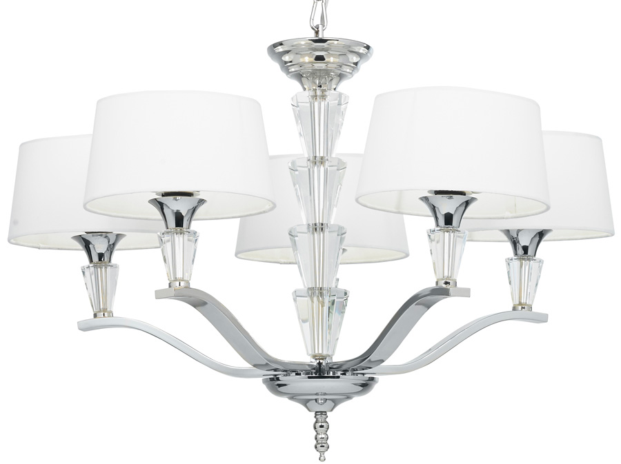 Fiennes Contemporary 5 Light Chandelier Polished Nickel FIENNES-5NI