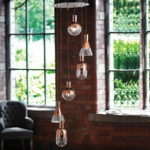 Modern Copper 6 Light Dingle Dangle Pendant Light