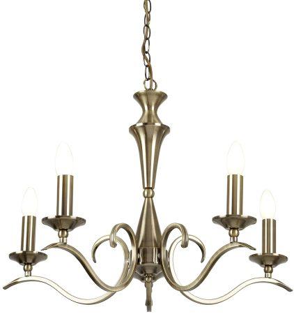 Kora Traditional Antique Brass 5 Light Chandelier