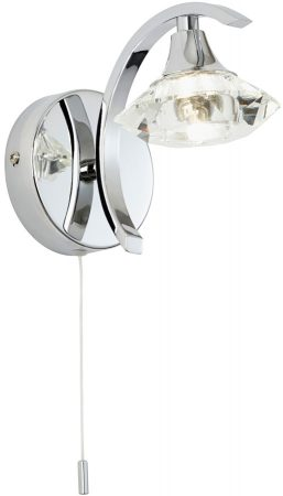Langella Modern Chrome Switched Wall Light With Cut Glass Shade