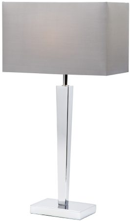 Moreto Modern Chrome Table Lamp With Grey Shade