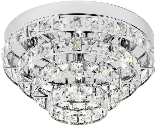 Motown Art Deco Style Chrome And Glass Flush Light