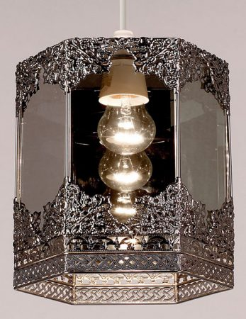 Pewter Filigree Metalwork Lantern Lamp Shade