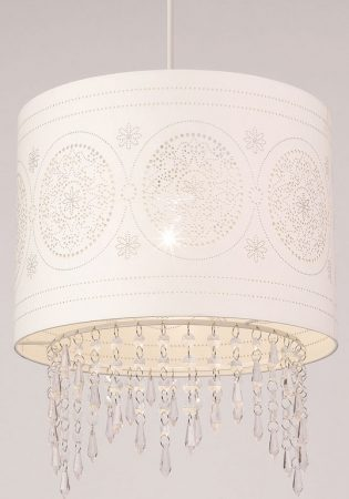 Laser Cut Paper Drum Pendant Shade With Beads
