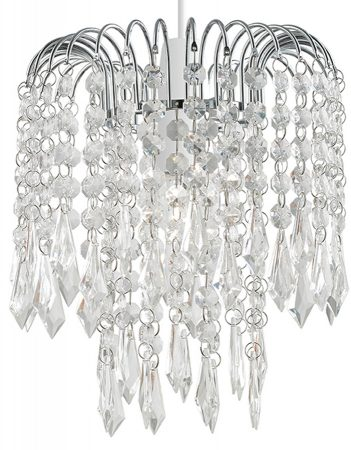 Levens Chrome Ceiling Lamp Shade With Acrylic Drops