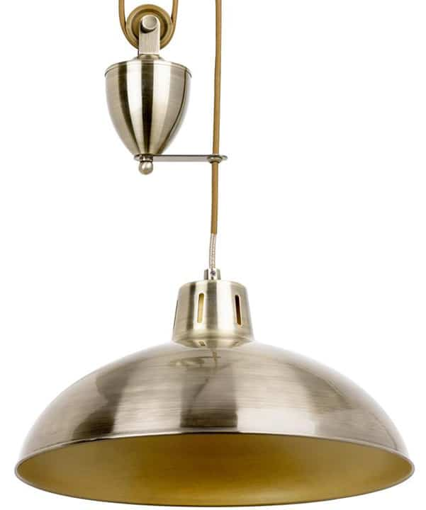 Endon Polka Rise Amp Fall Ceiling Pendant Pulley Light Antique Brass