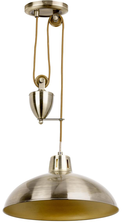 Endon Polka Rise & Fall Ceiling Pendant Pulley Light Antique Brass