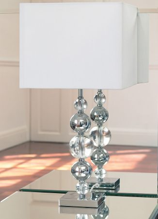 Silvaner Chrome And Crystal Table Lamp With White Shade