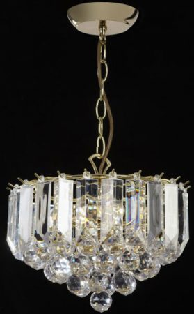 Fargo Polished Brass 3 Light Acylic Rod Ceiling Pendant
