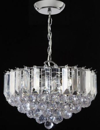 Fargo Chrome 380mm 3 Light Acylic Rod Ceiling Pendant