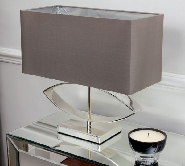 Tramini Silver Plated Table Lamp With Taupe Silk Shade